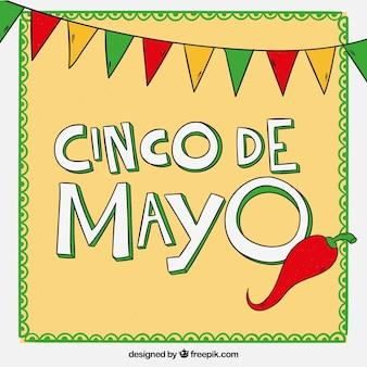 Cinco de mayo background with pennants