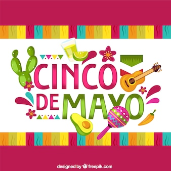 Cinco de mayo background with traditional elements in flat style