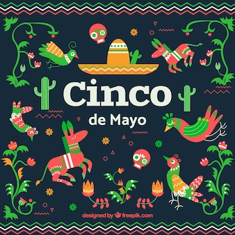 フラットスタイルの伝統的な要素を持つcinco de mayoの背景