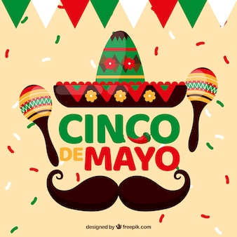 Cinco de mayo background with traditional elements