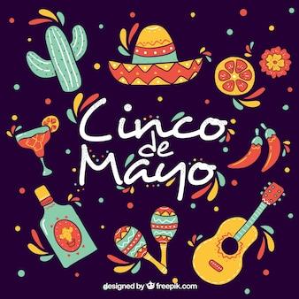 Фон синко де майо с традиционными элементами