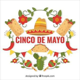 Cinco de mayo background with traditional food and floral decoration