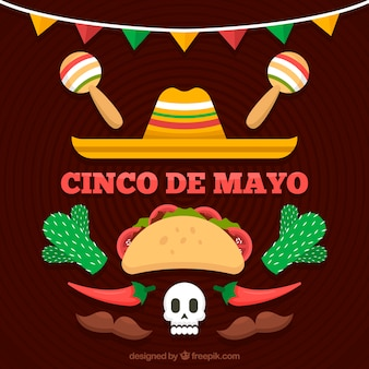 Cinco de mayo background with traditional food