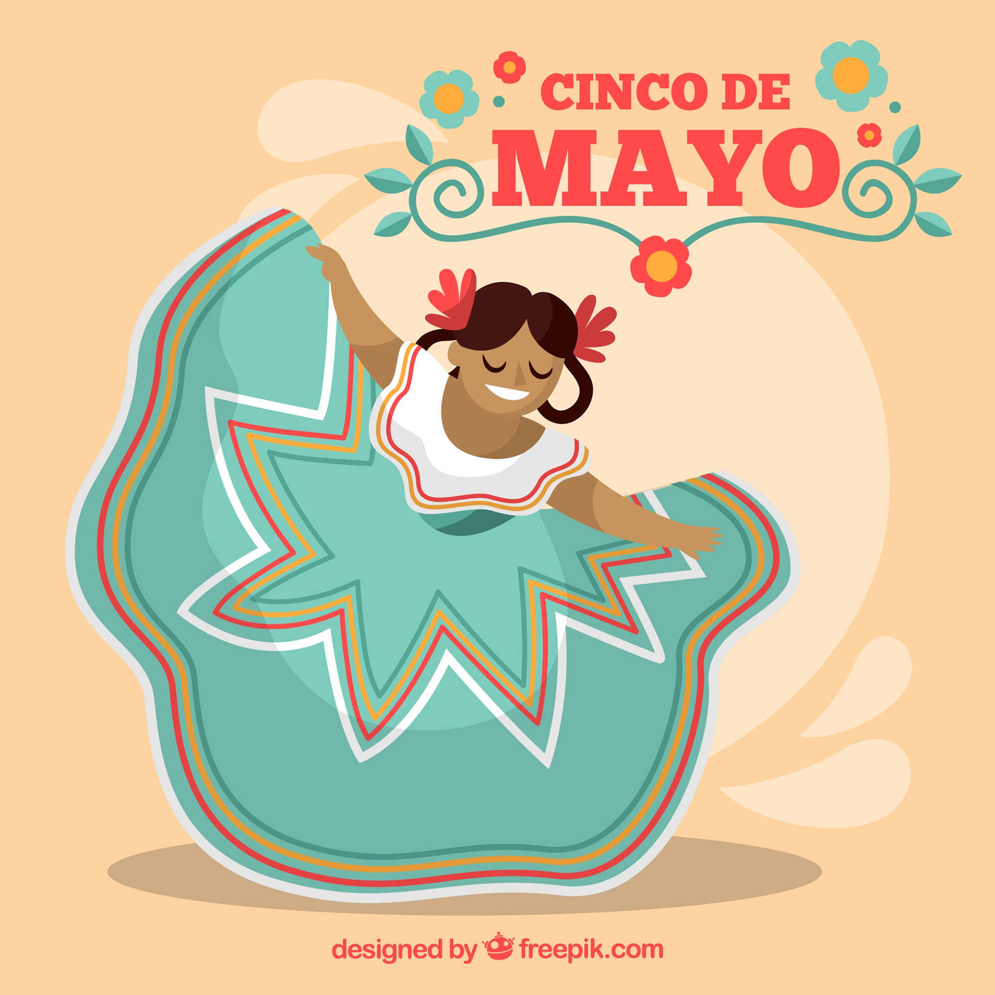 Cinco de mayo background with woman dancing