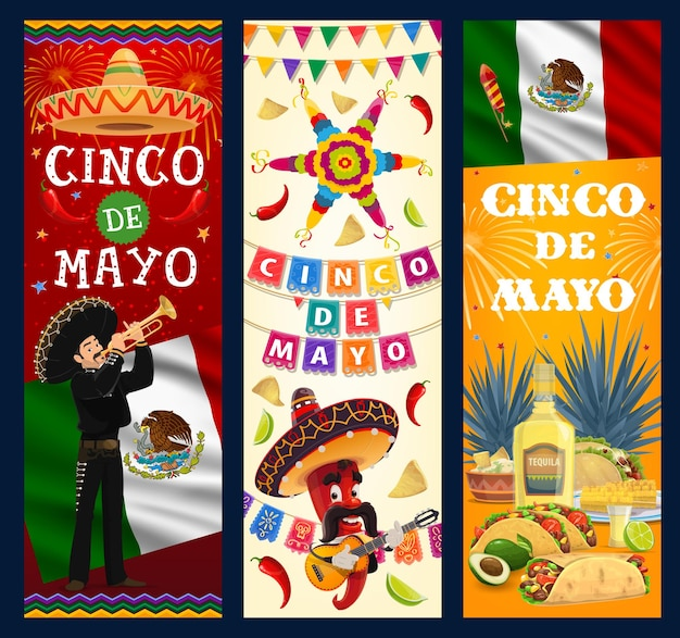 Cinco de mayo banners. cartoon mariachi musician with trumpet, jalapeno chili pepper in sombrero playing guitar. mexican food tortilla, guacamole and nachos, corn or maize, burrito, enchilados