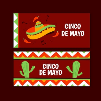 Cinco de mayo banners hand drawn