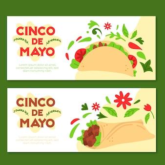 Синко де майо баннеры в плоском дизайне