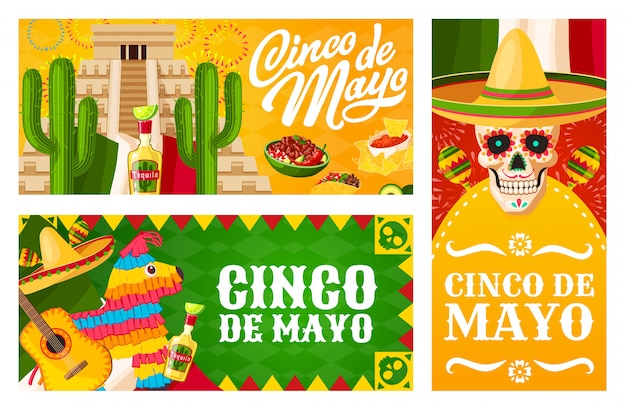 Cinco de mayo banners of mexican holiday fiesta