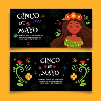 Cinco de mayo banners with flowers