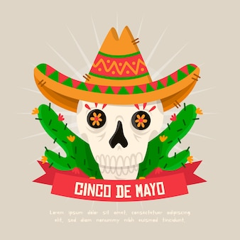 Cinco de mayo banners with skull wearing hat