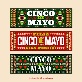 Cinco de mayo banners with traditional elements Free Vector