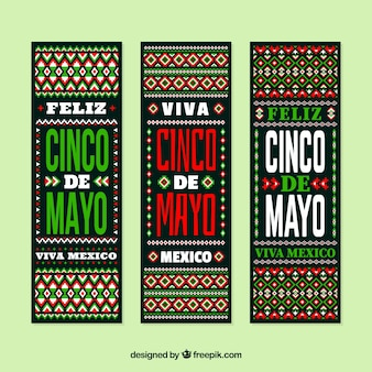 Cinco de mayo banners with traditional elements