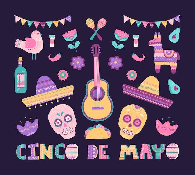 シンコデマヨのビッグセットには、ホリデースカル、ピニャータ、ソンブレロ、ブリトー、テキーラの伝統的なメキシコのシンボルが描かれています。手描きの要素のコレクション、フラット漫画スタイルのテンプレート、背景に分離