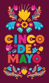 Cinco de mayo card with floral decoration