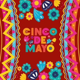 Cinco de mayo card with floral and texture frame