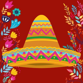 Cinco de mayo card with flowers and hat