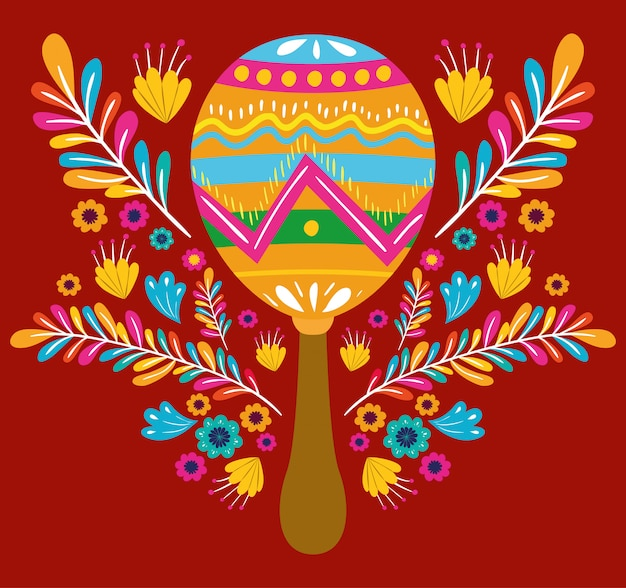 Cinco de mayo card with flowers and maracas