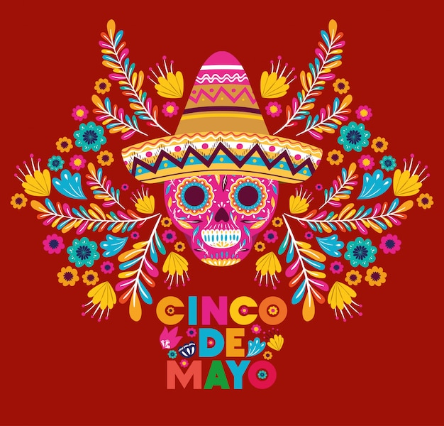 Cinco de mayo card with skull and hat