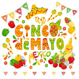 Cinco de mayo celebration, festive clipart