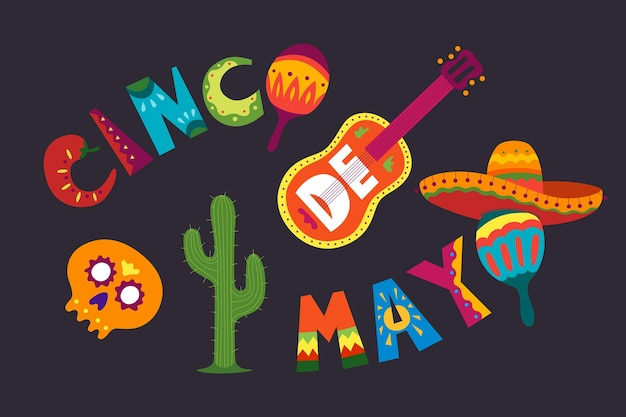 Cinco de mayo celebration in mexico may latin america holiday colorful detailed lots of objects Premium Vector