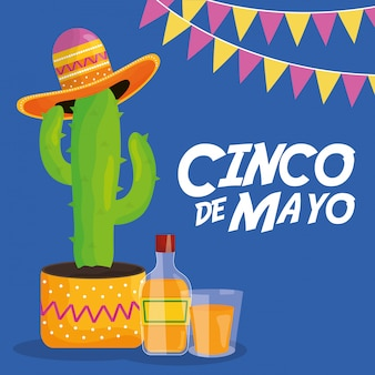 Cinco de mayo celebration with cactus and hat mexican