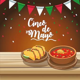 Праздник синко де майо с вкусной едой в столе