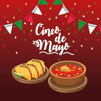 Cinco de mayo celebration with garlands and food