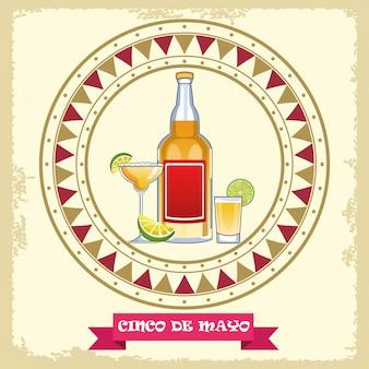 Празднование синко де майо с круговой рамкой из коктейлей с текилой