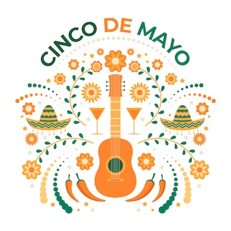 Cinco de mayo creative illustration with guitar