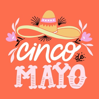 Cinco de mayo creative lettering with sombrero