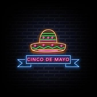 Cinco De Mayo 디자인 네온 스타일 템플릿 프리미엄 벡터