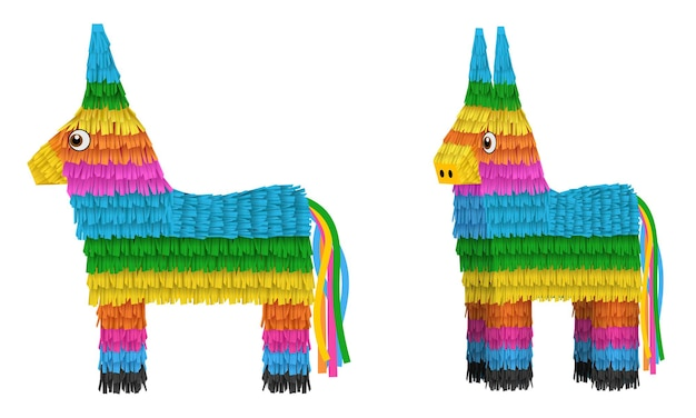 Элементы синко де майо изолированные ослы пиньята иллюстрации спереди и вид сбоку