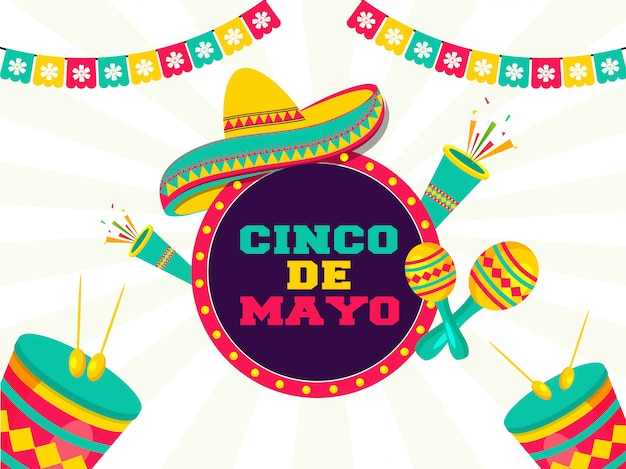 Cinco de mayo festival celebration with party elements