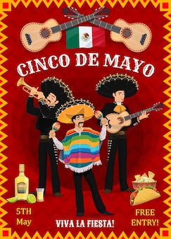 Cinco de mayo festival flyer with mexican musicians