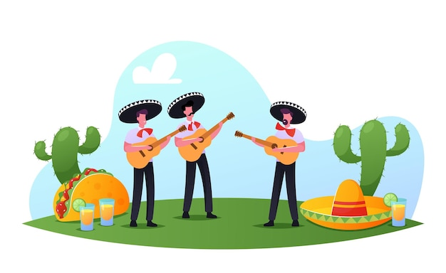 Фестиваль синко де майо, мексиканские мужчины в ярких костюмах и сомбреро, играющие на гитаре, отмечают национальный праздник народной музыки. артисты марьячи персонажи музыкантов. мультфильм люди векторные иллюстрации