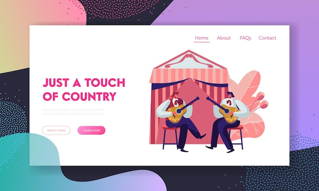 Cinco de mayo festival with band of mexican men playing guitar celebrating national folk music holiday. website landing page template