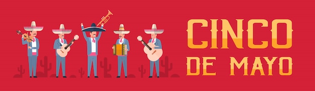 Cinco de mayo festival with group of mexican musicians