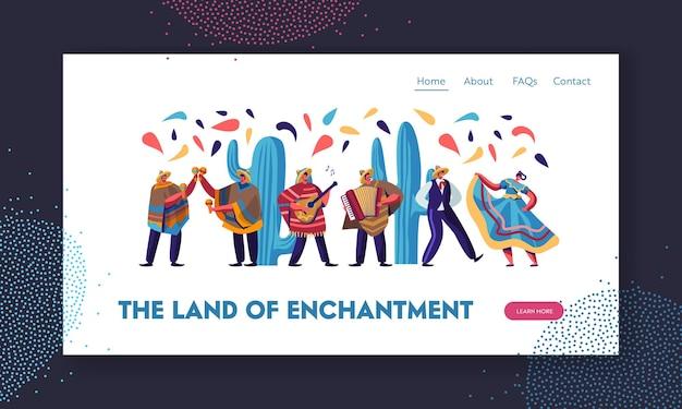 Фестиваль синко де майо с мексиканцами в традиционной одежде, музыкантами и танцорами, отмечающими праздник национальной музыки. целевая страница веб-сайта,