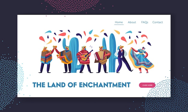 Cinco de mayo festival with mexican people in traditional clothes, musicians and dancers celebrating national music holiday. website landing page,