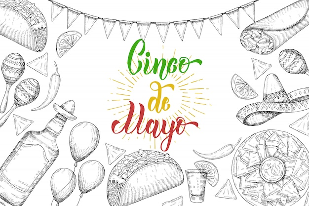 Cinco de mayo festive background with  hand drawn symbols - chili pepper, maracas, sombrero, nachos, tacos, burritos, tequila, balloons, flag garland isolated on white. hand made lettering.