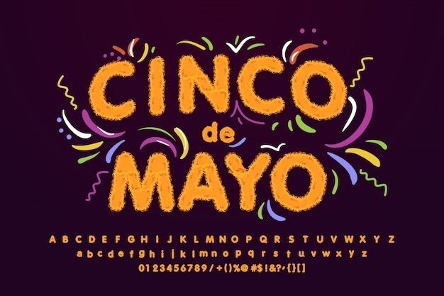Cinco de mayo fluffy font, bright sign, light banner.