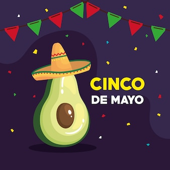 Cinco de mayo greeting card with avocado and decoration vector illustration design