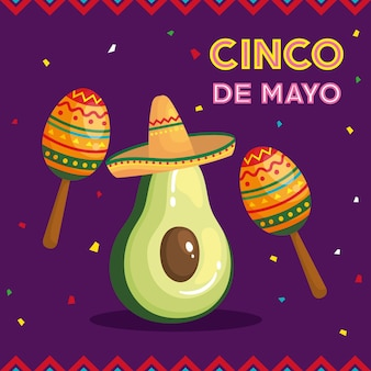 Cinco de mayo greeting card with avocado and decoration