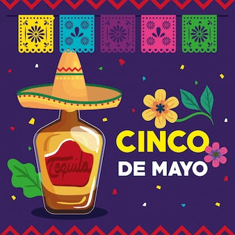 Cinco de mayo greeting card with bottle tequila and decoration vector illustration design