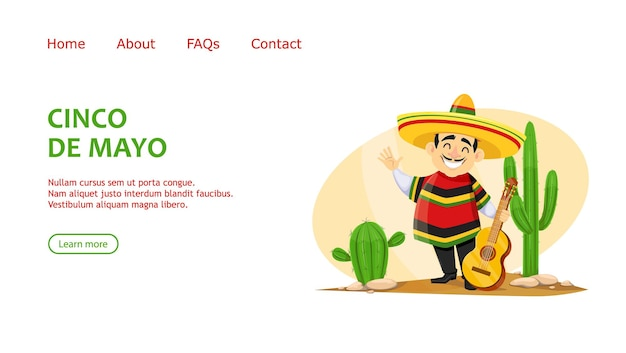 Cinco de mayo greeting card with cheerful mexican man