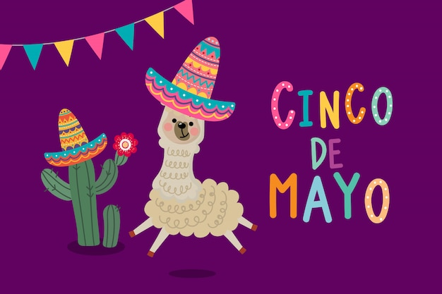 Cinco de mayo greeting card with cute alpaca and cactus.