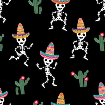 Cinco de mayo greeting card with cute skeleton and colourful hat seamless  pattern.
