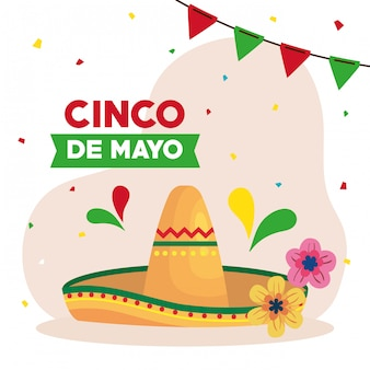Cinco de mayo greeting card with hat wicker and decoration vector illustration design