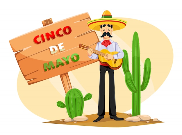 Cinco de mayo greeting card with mexican man