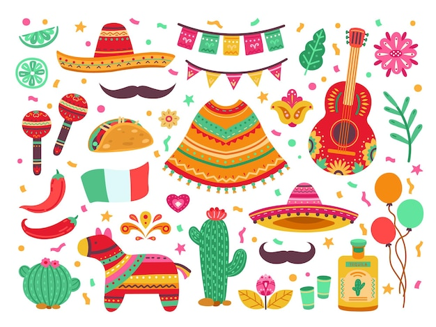 Cinco de mayo. guitar party, isolated mexican fiesta decoration. sombrero cactus, latin birthday fest elements, spanish pinata vector set. fiesta mexican, guitar and pepper illustration